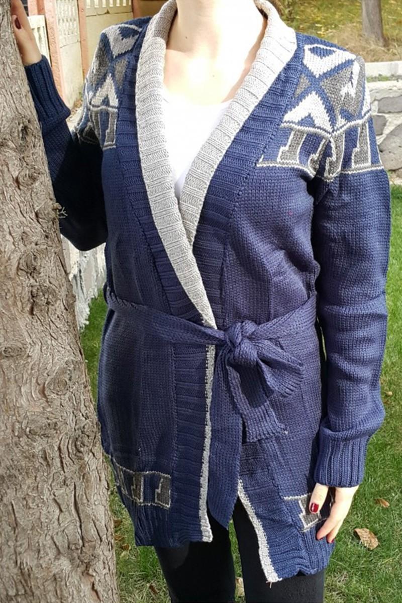 Yeni Elbisem Lacivert YE-6728 Bayan Hırka
