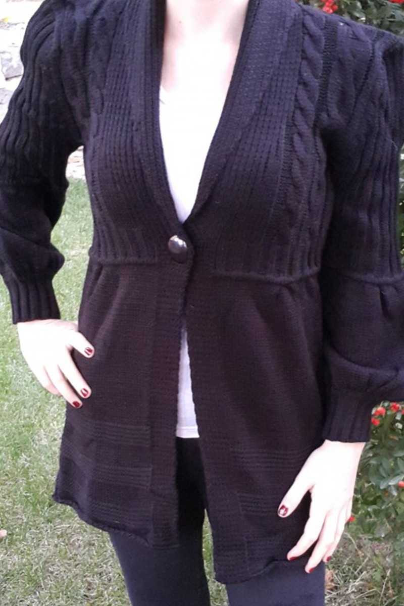 Yeni Elbisem Siyah YE-6703 Bayan Hırka