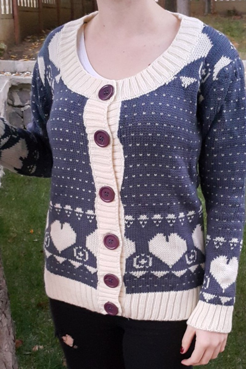 Yeni Elbisem Lacivert YE-6682 Bayan Hırka