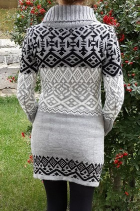 Yeni Elbisem Gri YE-6679 Bayan Triko Elbise