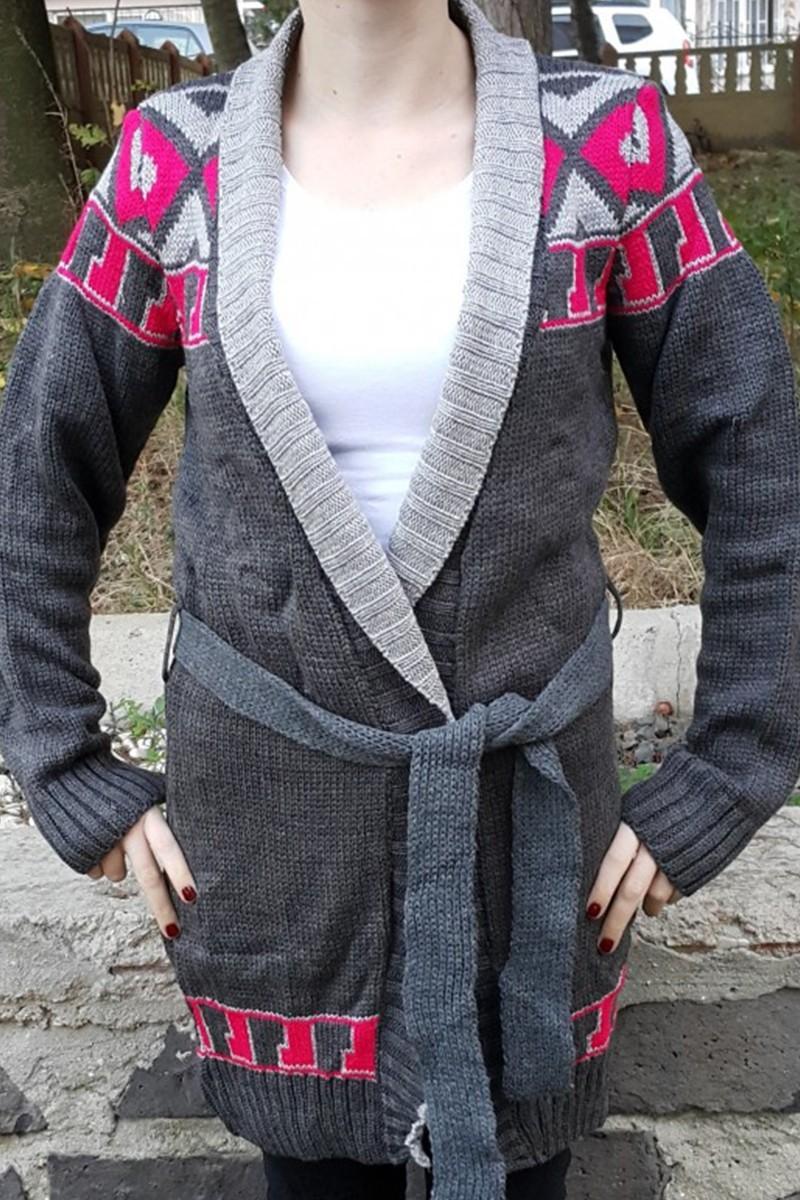 Yeni Elbisem Gri YE-6670 Bayan Hırka
