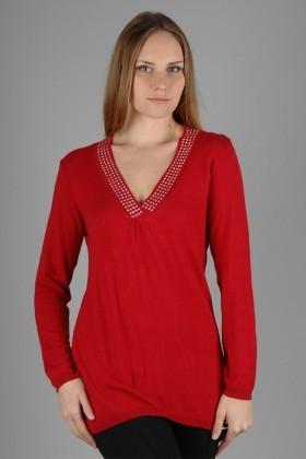Yeni Elbisem Kırmızı YE-6570 Bayan Kazak