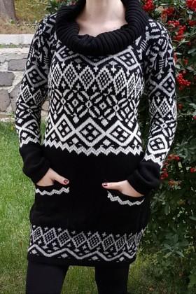 Yeni Elbisem Siyah YE-6521 Bayan Kazak
