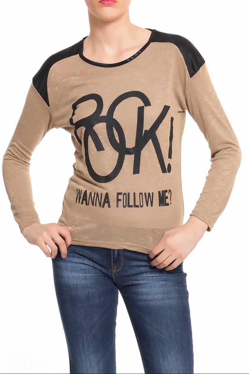 Yeni Elbisem Kahverengi YE-4340 Bayan Bluz