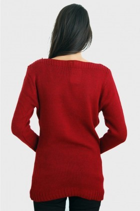 Yeni Elbisem Kırmızı YE-2285 Bayan Kazak