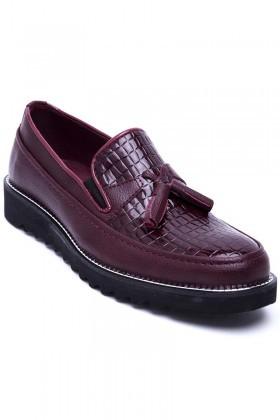 BLUESOIL Bordo BS-20-058-DESENLI Erkek Ayakkabı