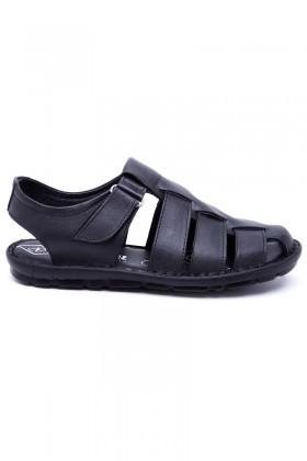 Peker Siyah PK-400 Hakiki Deri Erkek Sandalet