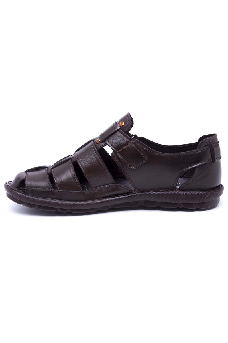 Peker Kahverengi PK-100-KAHVE Hakiki Deri Erkek Sandalet