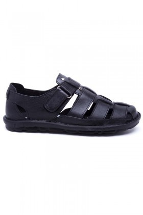Peker Siyah PK-100-SYH Hakiki Deri Erkek Sandalet