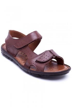 Peker Kahverengi PK-300-KAHVE Hakiki Deri Erkek Sandalet