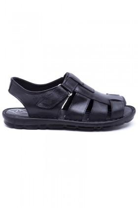 Peker Siyah PK-200-SYH Hakiki Deri Erkek Sandalet