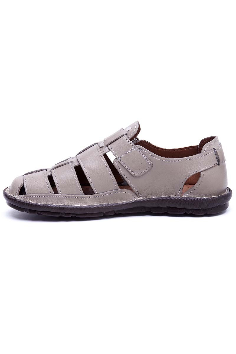 Peker Bej PK-100-BEJ Hakiki Deri Erkek Sandalet