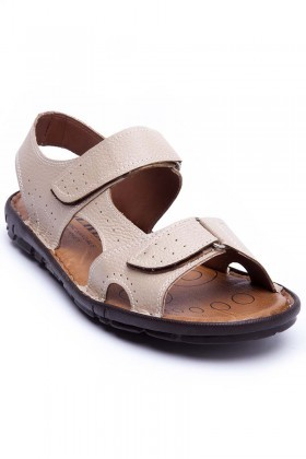 Peker Bej PK-300-BEJ Hakiki Deri Erkek Sandalet