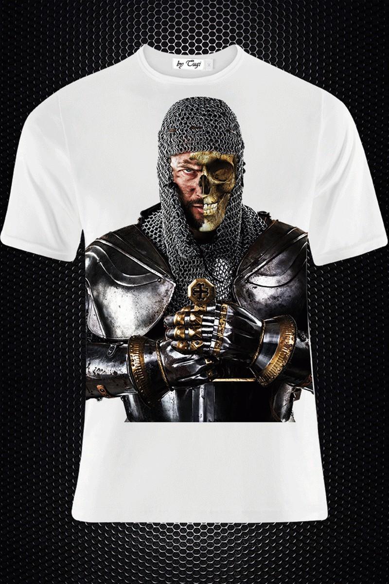BLUESOIL Beyaz BS-M003 3D Baskılı Erkek Tişört
