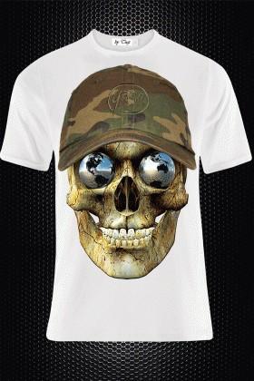 BLUESOIL Beyaz BS-M011 3D Baskılı Erkek Tişört