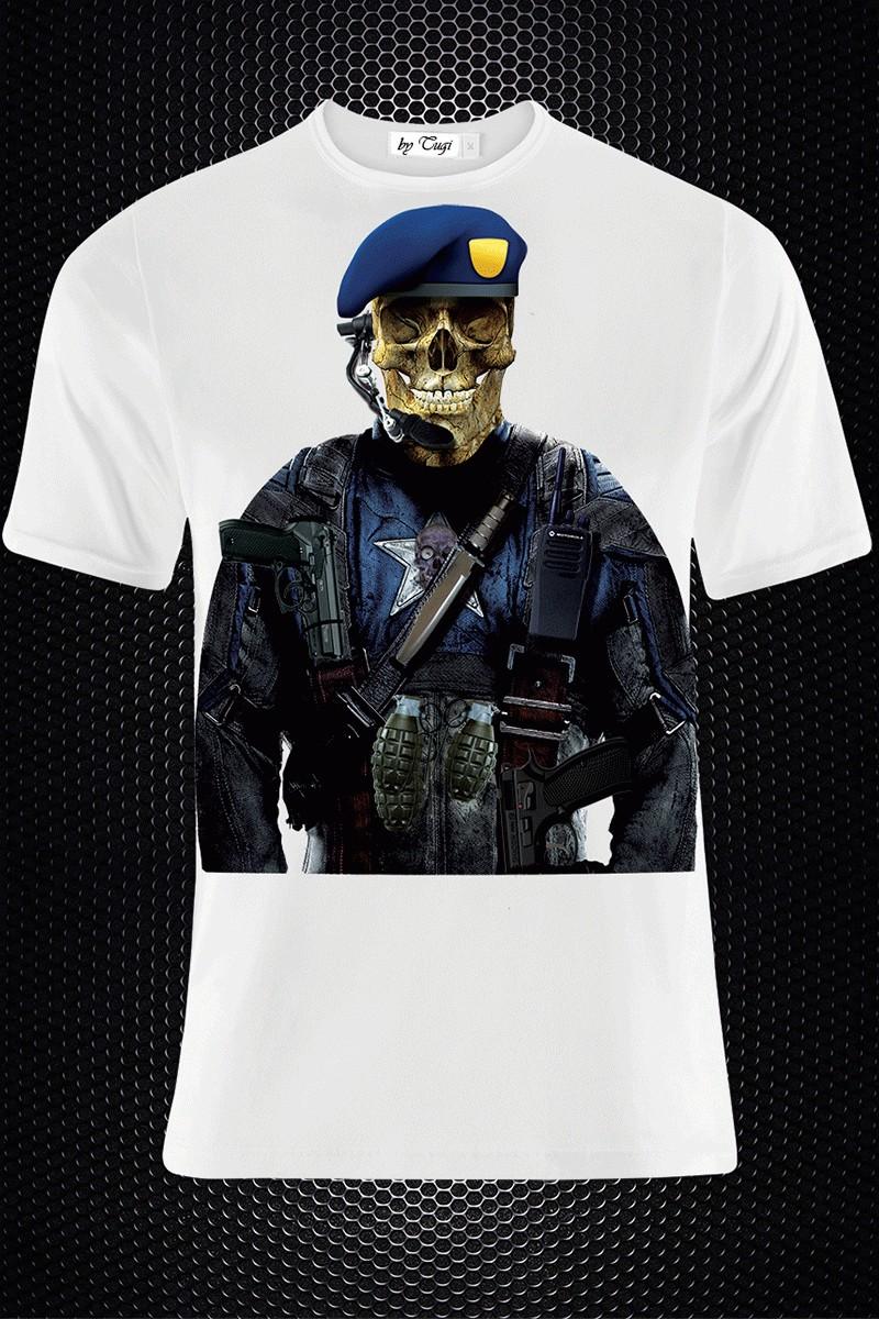BLUESOIL Beyaz BS-M015 3D Baskılı Erkek Tişört