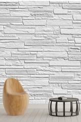 Gri Taş Duvar Desenli Duvar Kağıdı