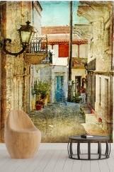Şehir Manzara Desenli Duvar Kağıdı