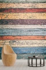 Renkli Ahşap Desenli Duvar Kağıdı
