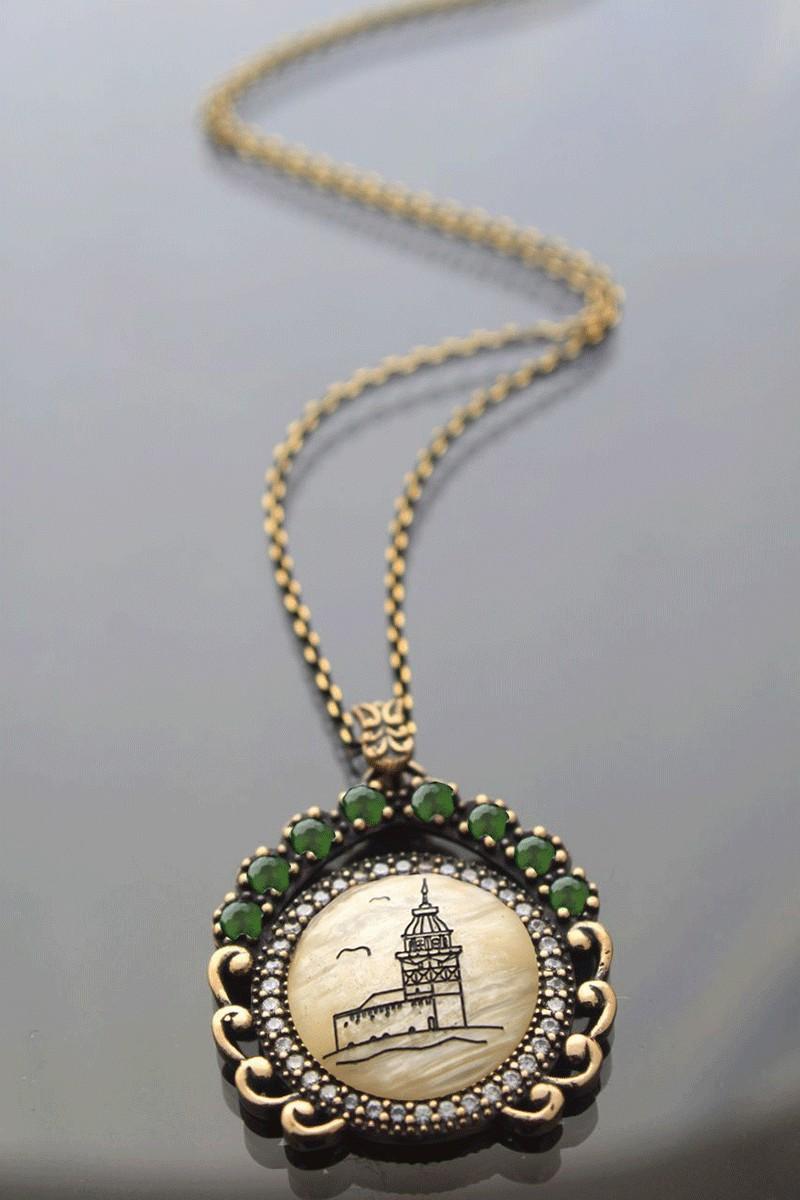 Menessa Bronz MS-BG2201 Yeşil Taşlı Kız Kulesi Kolye