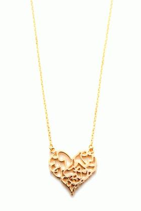 Menessa Altın Sarısı MS-BG1893 Kalp Kolye