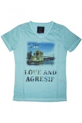 Denim Agresif Yeşil SE-100-020 Bayan Tişört
