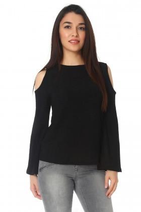 BLUESOIL Siyah BS-296-B100 Bayan Dekolte Bluz