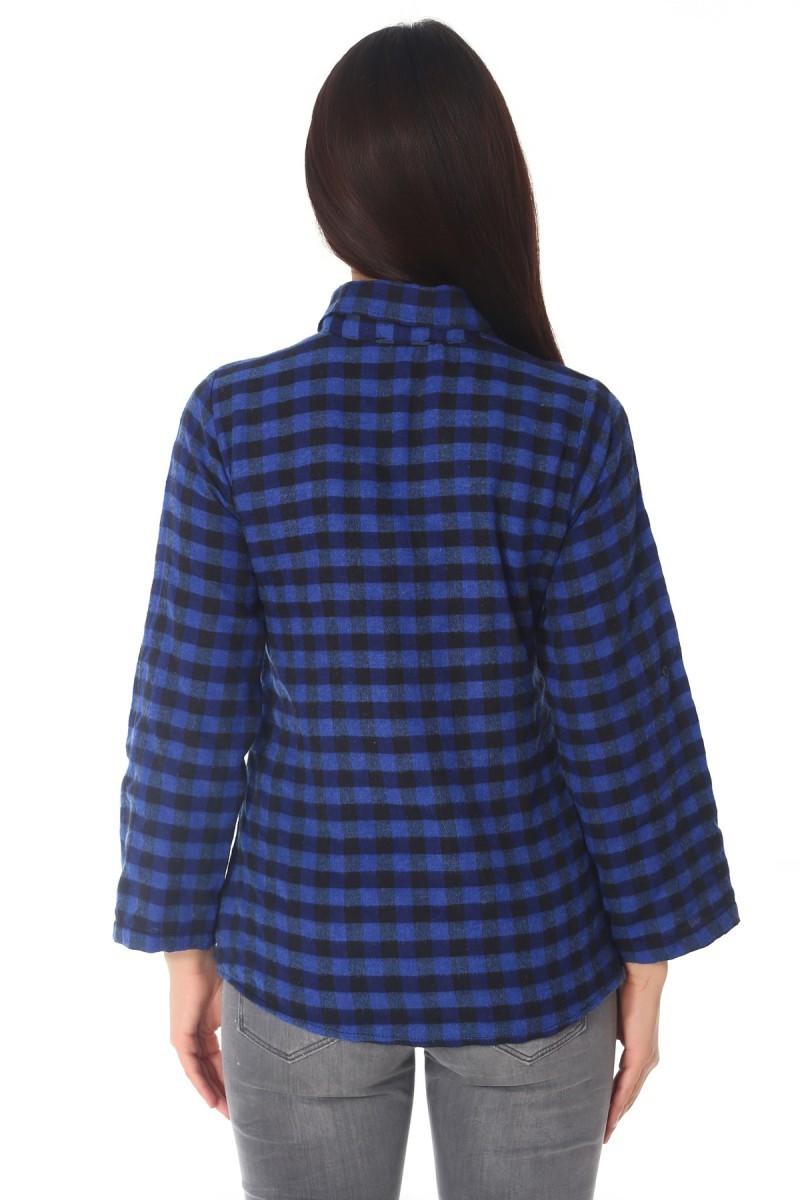 BLUESOIL Siyah-Saks BS-296-G650 Bayan Gömlek