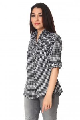 BLUESOIL Siyah-Beyaz BS-296-G500 Bayan Gömlek