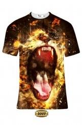 Erkek 3D Aslan Baskılı Tişört