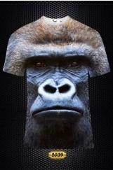 Erkek 3D Goril Baskılı Tişört