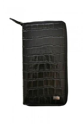 Karalı Deri Siyah OB-C39 Hakiki Deri Fermuarlı Telefon Bölmeli