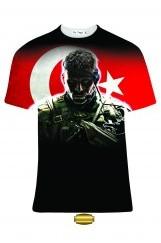 3D Asker Baskılı Erkek Tişört