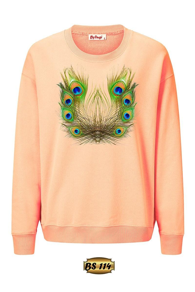 By Tugi Gül Kurusu TG-BS-114 3D Baskılı Kadın Sweatshirt
