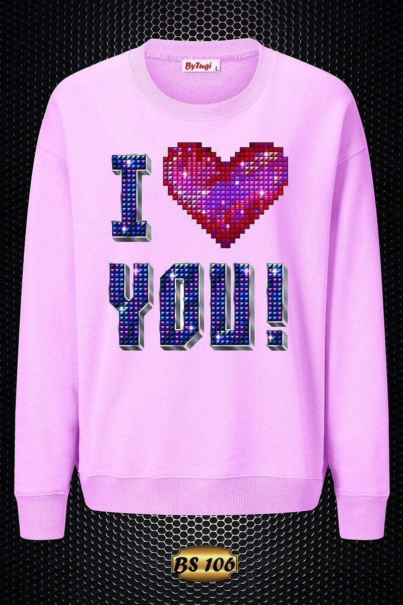 By Tugi Lila TG-BS-106 3D Baskılı Kadın Sweatshirt